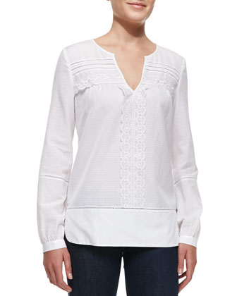 Andrea Long-Sleeve Lace-Strip Top, White