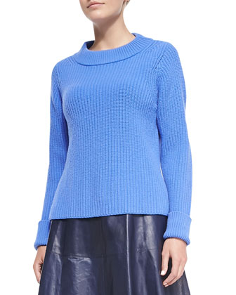 Merino Side-Split Sweater, Baltic