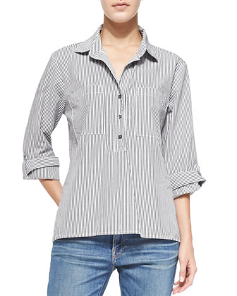 Le Boyfriend Cotton Pinstriped Top & Le Garcon Denim Jeans