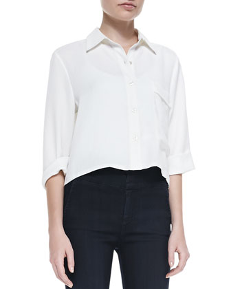 Long-Pocket Short-Sleeve Blouse