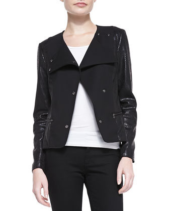 Mixed-Fabric Snap Jacket