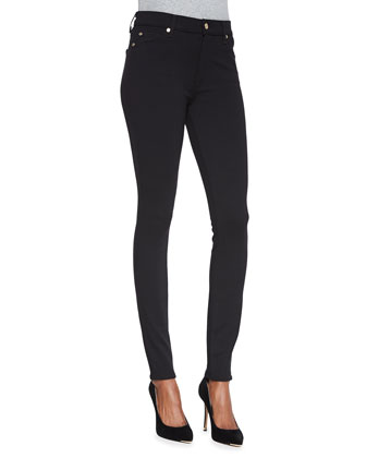 Knit High-Waist Skinny Jeans, Black