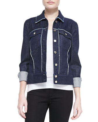 Raw-Edge Contrast Denim Jacket