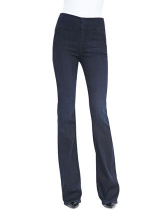 High-Waist Wide-Leg Denim Trousers, Lilah Blue