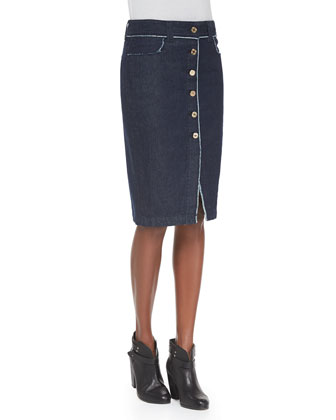 Raw Edge Button-Front Denim Skirt