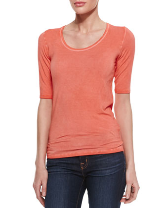 Soft Touch Scoop-Neck Slub Tee