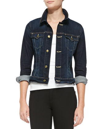 Dusty Denim Jacket & Halle Ponte Mid-Rise Skinny Pants