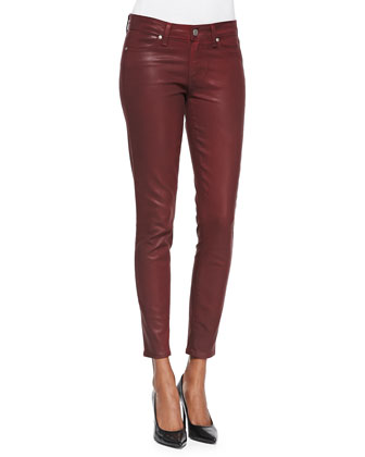 Verdugo Coated Skinny Ankle Jeans, Shiraz Silk