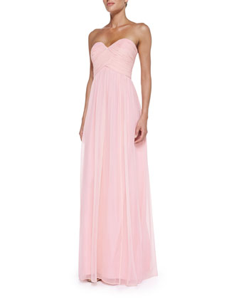 Laura Strapless Ruched-Bodice Gown