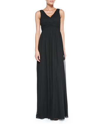Julie Sleeveless Empire-Waist Gown