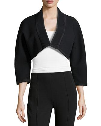3/4-Sleeve Kimono Bolero, Black