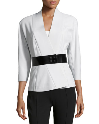 Belted Knit Kimono Jacket, Ash