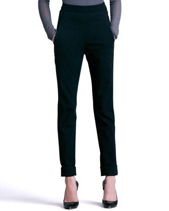 Cuffed High-Waist Trousers, Black