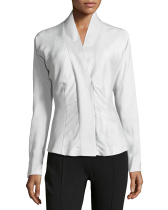 Tailored Faille Wrap Blouse, Ash