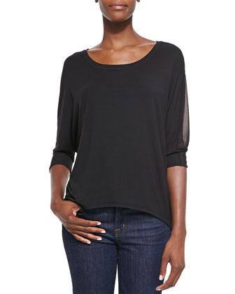 Keegan Mesh-Sleeve Top