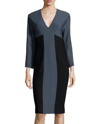 Bicolor 3/4-Sleeve Dress