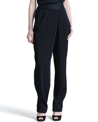 Envelope-Pleated Fluid Pants, Black