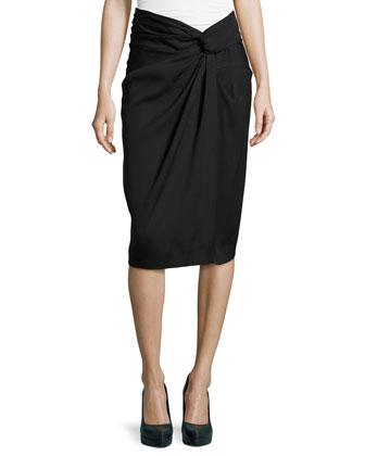 Sarong Knot Draped Skirt, Black