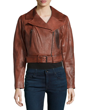 Burnished Lambskin Leather Crop Jacket, Cinnabar