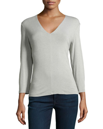 3/4-Sleeve Top w/Shelf Bra, Cement