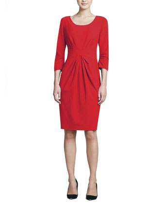 3/4-Sleeve Center-Pleat Sheath Dress