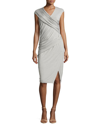 Cap-Sleeve Jersey Drape Dress