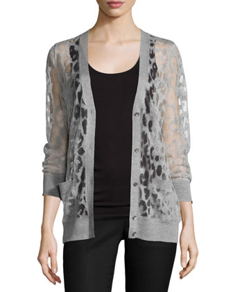 Button-Down Leopard Burnout Cardigan