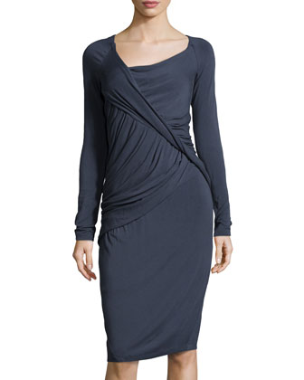 Draped Long-Sleeve Jersey Dress, Slate Blue