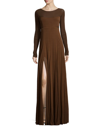 Long-Sleeve Low-Back Evening Gown