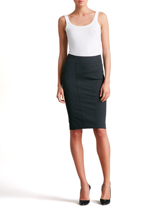 Pieced Pencil Skirt, Charcoal