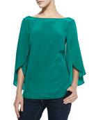 Butterfly-Sleeve Silk Top, Emerald
