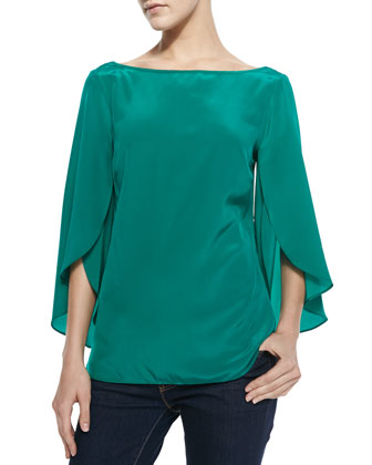 Butterfly-Sleeve Silk Top, Emerald