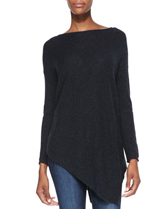 Boat-Neck Asymmetric Knit Sweater