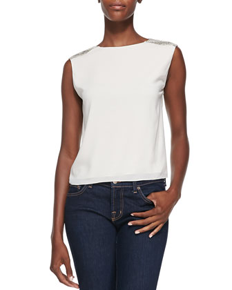Baka Sleeveless Sequined-Shoulder Top