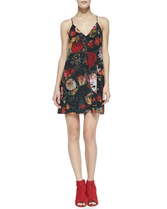 Fierra Floral-Print Chiffon Dress