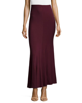 Gored Long Jersey Skirt, Claret