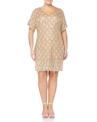 Beaded-Pattern Cocktail Dress W/ Feather Hem, Women's