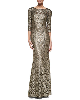 3/4-Sleeve Metallic Lace Gown