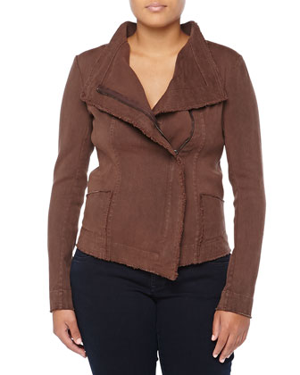 Asymmetric Zip-Front Jacket w/Fringe Trim, Henna