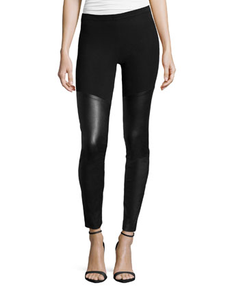 Leather/Jersey Leggings, Black