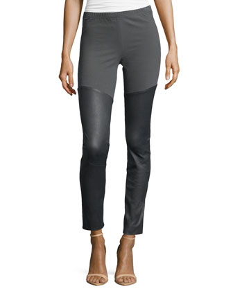 Leather/Jersey Leggings, Steel