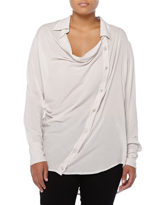 Asymmetric Cowl-Neck Button Blouse, Ash