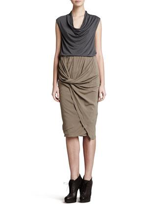 Twist Drape Scissor Skirt, Oak