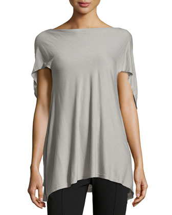 Short-Sleeve Trapeze Top, Cement