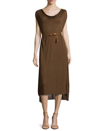 Belted Sleeveless Cowl-Neck Dress, Henna