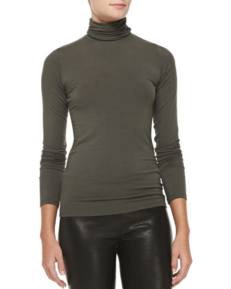 Soft Touch Long-Sleeve Fitted Turtleneck Top