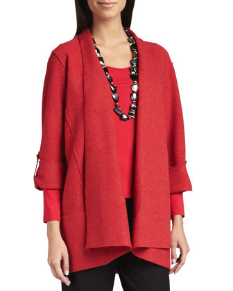 Lightweight Boiled Wool Coat, Garnet, Women's
