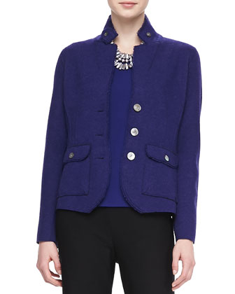 Double-Knit Felt Jacket, Jewel-Neck Jersey Top & Straight-Leg Pants, Petite