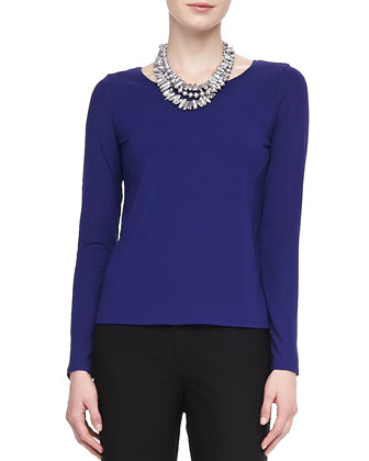 Jewel-Neck Jersey Long-Sleeve Tee, Petite