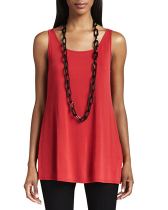 Silk Jersey Long Tunic Tank, Women's